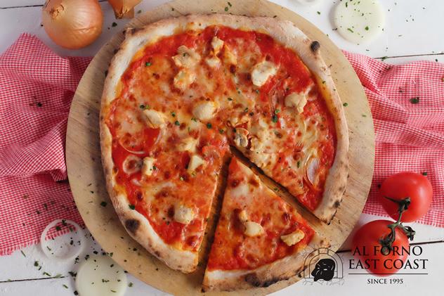 PIZZA AL POLLO E CIPOLLE